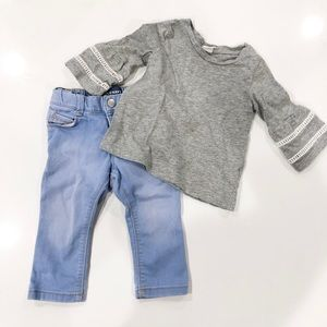 Bell sleeve T and Jeans
